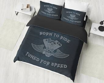 Harley Bedding Set, American Chopper Duvet Cover Set, Born To Ride Bedding, Harley Davidson, Motorcycle Bedding, Twin, Full, Queen, King