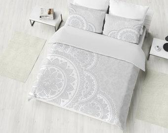 Mandala Bedding, White Mandala Duvet Cover Set, Boho Bedding, Bohemian Duvet Cover Set, Twin, Full, Queen, King Hippie Bedding