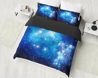 blue galaxy bedding set nebula galaxy duvet cover set space bedding galaxy bedroom decor universe bedding twin full queen king - Galaxy Bedding Set