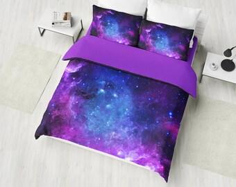 purple nebula bedding set galaxy duvet cover set deep space bedding cosmos bedroom decor universe bedding twin full queen king - Galaxy Bedding Set
