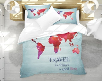 World map bedding etsy world map bedding watercolor map duvet cover set travel map bedding inspirational quote gumiabroncs Image collections