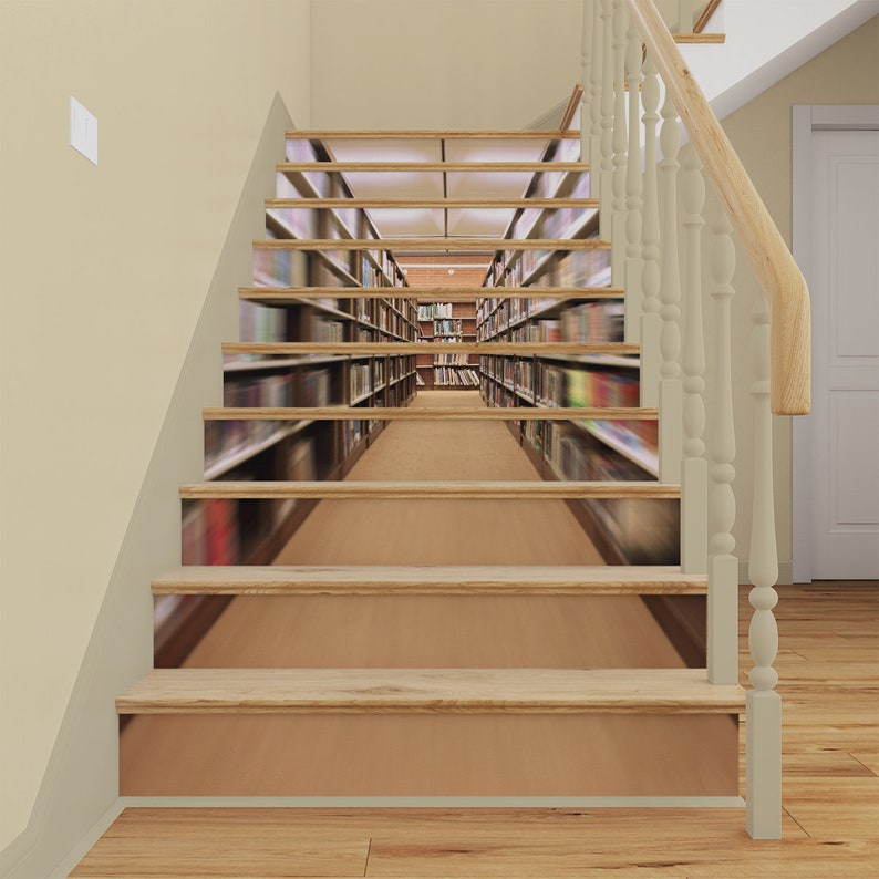 3D Library STAIR RISER DECALS, Stair Riser Vinyl Strips, Staircase Mural  Sticker, Books, Shelves Stairway Removable Wallpaper Peel And Stick
