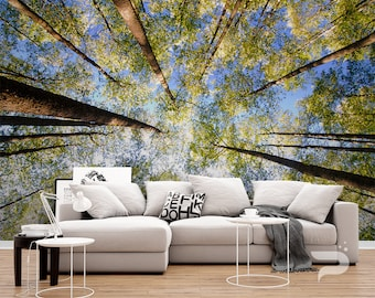 Forest Treetop WALL MURAL, Forest Wall Covering, Green Forest Trees Blue Sky Wall Art Print Poster, Wall Decor, Removable Peel & Stick Mural