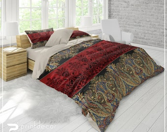 Ethno Bedding Set, Ethnic Motifs Duvet Cover Set, Boho Floral Bedding, Bohemian Bedding, College Bedding, Twin, Full, Queen, King