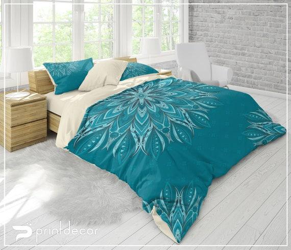 Mandala Bedding Set, Boho teal blue and aqua mandala Duvet Cover Set, Boho Bedroom Decor, College Bedding, Twin, Full, Queen, King