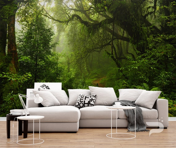 Forest Waterfall Wall Mural Green Trees Photo Wallpaper  Living Room Home Decor