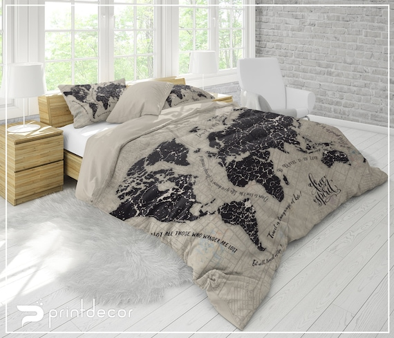 World Map Bedding, Free Spirit Map Duvet Cover Set, Inspirational Quote Map  Bedding, Travel Map Bedding, Twin, Full, Queen, King Bedding