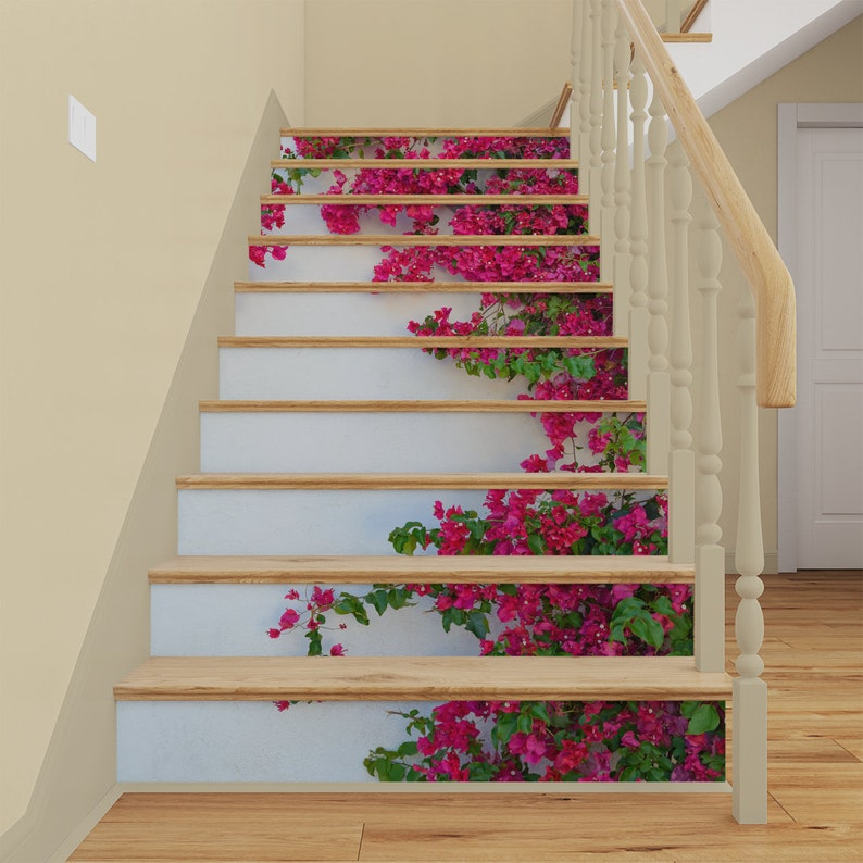 3D Wall Flowers STAIR RISER DECALS, Stair Riser Vinyl Strips, Spain  Staircase Mural Sticker, Stairway Removable Wallpaper Peel And Stick