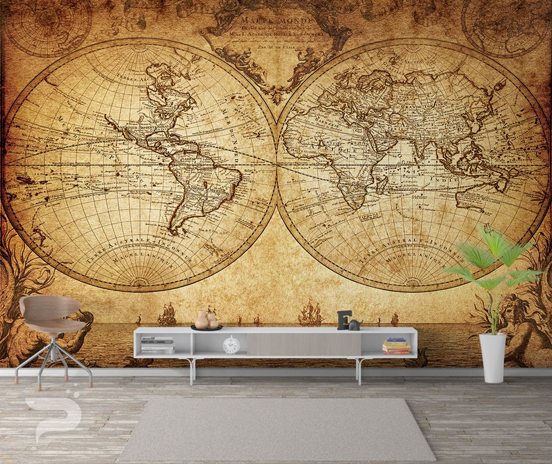 beautiful old map wall mural, vintage map wall covering, nautical world map wall art print poster, wall decor, removable peel \u0026 stick mural