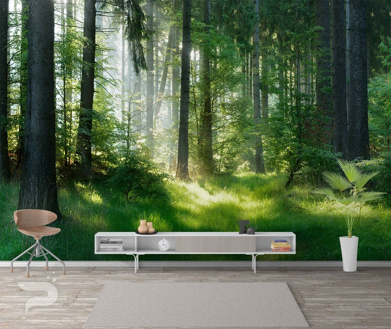 Green Forest Wall Mural Forest Wallpaper Mountain Forest Wall Mural Large Mural Forest Wall Decor Removable Peel Stick Mural Poster