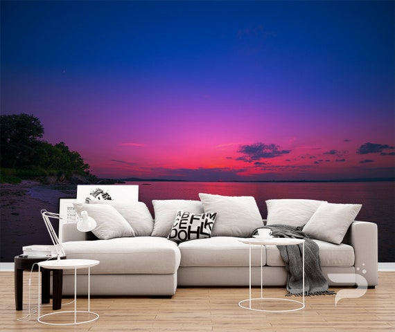 Purple Sunset Wall Mural Beach Wallpaper Mural Large Wall Mural Self Adhesive Peel Stick Mural Sunset By The Sea Wall Murals
