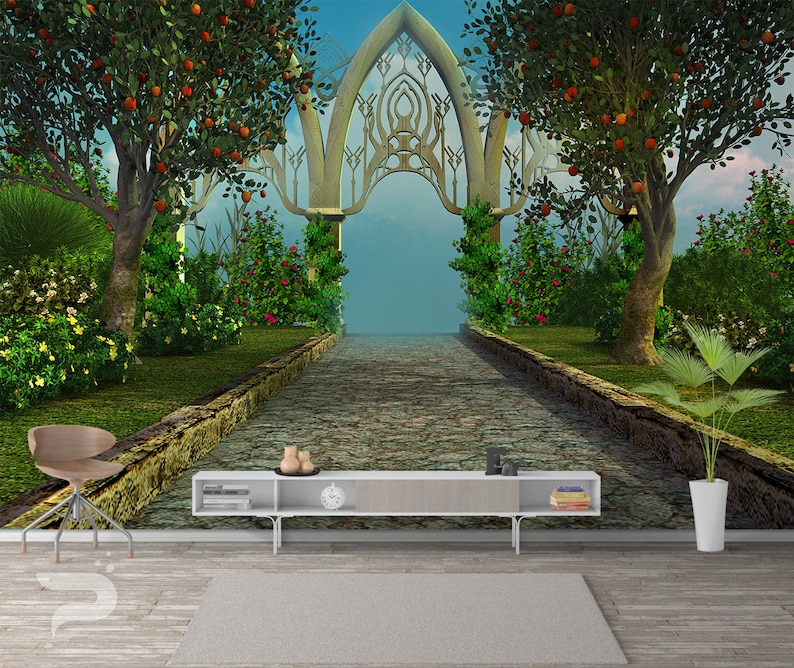 Mystical Garden Wall Mural Abstract Wall Covering Fairy Tale Wall Art Print Poster Removable And Reusable Wallpaper Peel Stick Mural