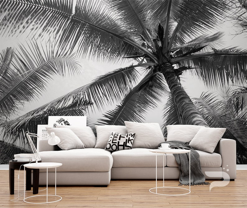 Black And White Wall Mural Palm Tree Wallpaper Large Wall Etsy