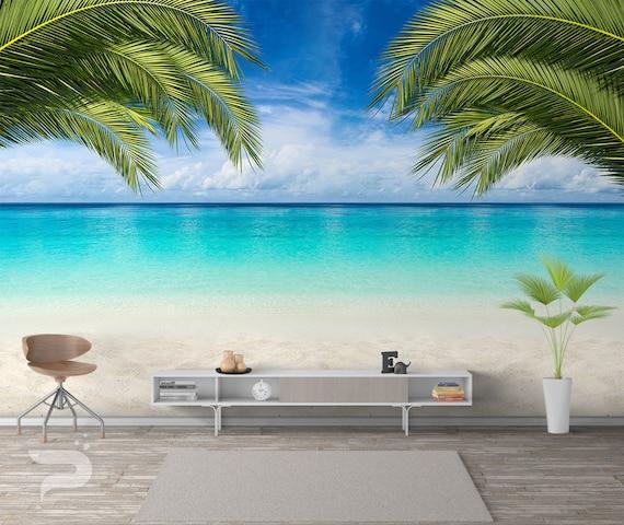 Paradise Beach Wall Mural Blue Ocean Photo Wallpaper Living Room Bedroom Decor