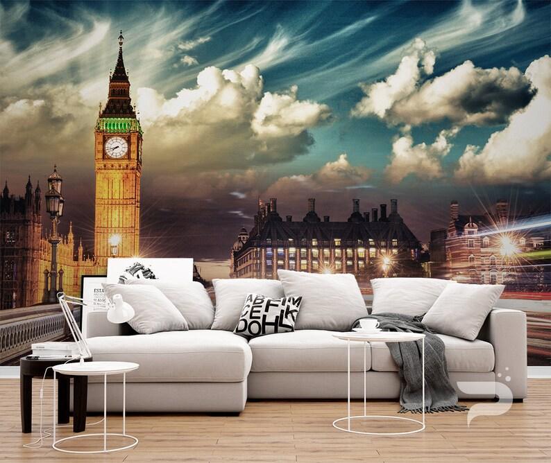 3D Mural London WALL MURAL Self Adhesive Peel and Stick Photo Mural London UK Wall Covering Big Ben Tower Wallpaper