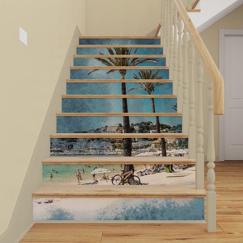 Peel /& Stick Stair Risers Decal Stairway Decor Scenery Removable Wallpaper Sticker 3D Retro Staircase Mural Vintage Palms STAIRS MURAL