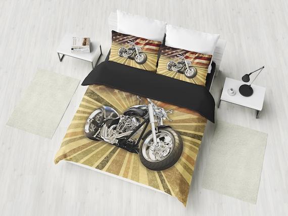 Harley Davidson Bedding Set Duvet Cover Black Guys On A Yellow Background Harley Davidson American Chopper Duvet Cover VS Comforter Set