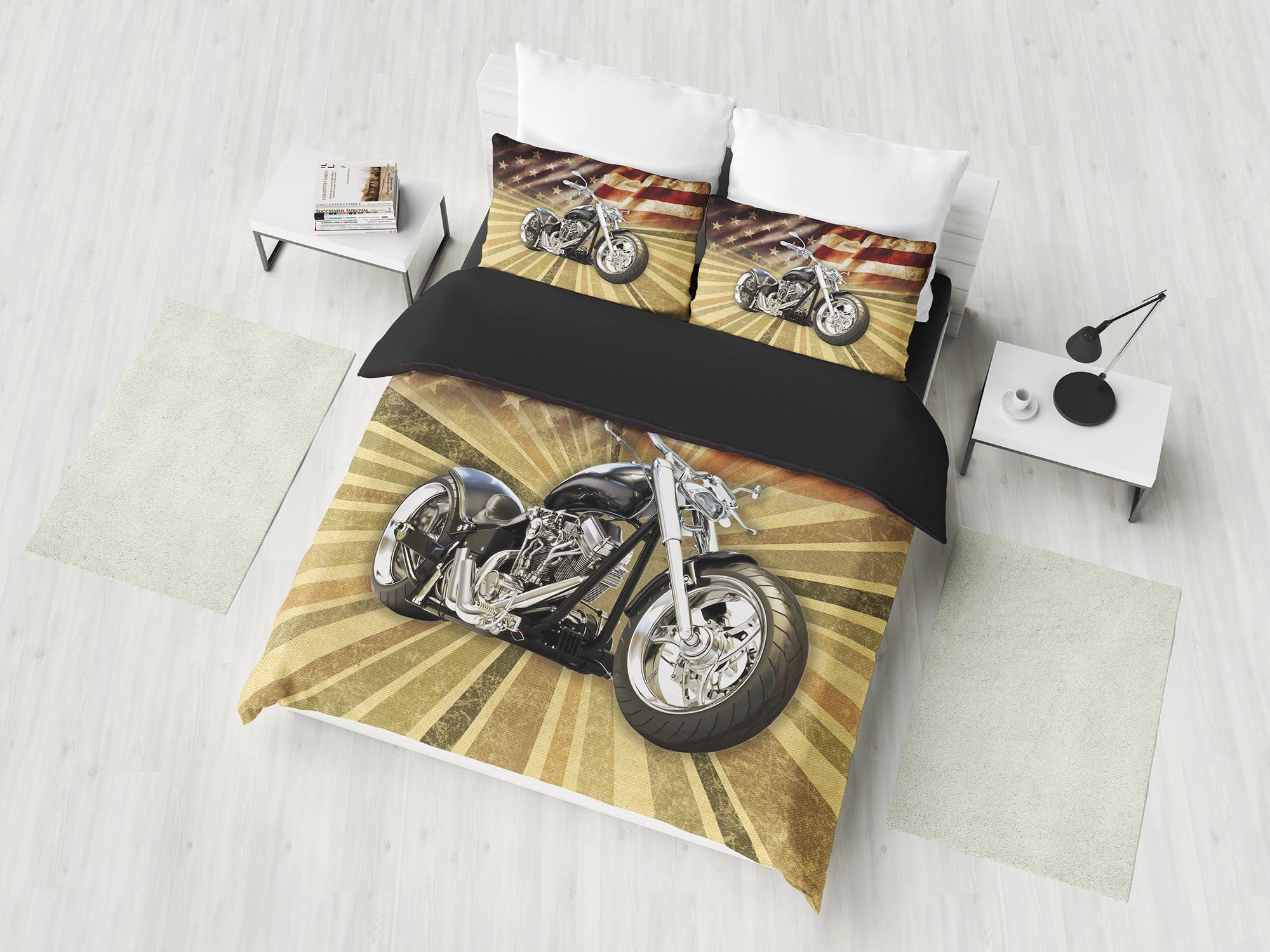 Harley Motorrad Gesetzt American Chopper Bettbezug Bettwäsche Etsy