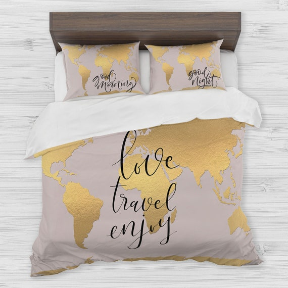 World Map Bedding, Golden Map Duvet Cover Set, Travel Map Bedding,  Inspirational Quote Bedroom Comforter Decor, Twin, Full, Queen, King