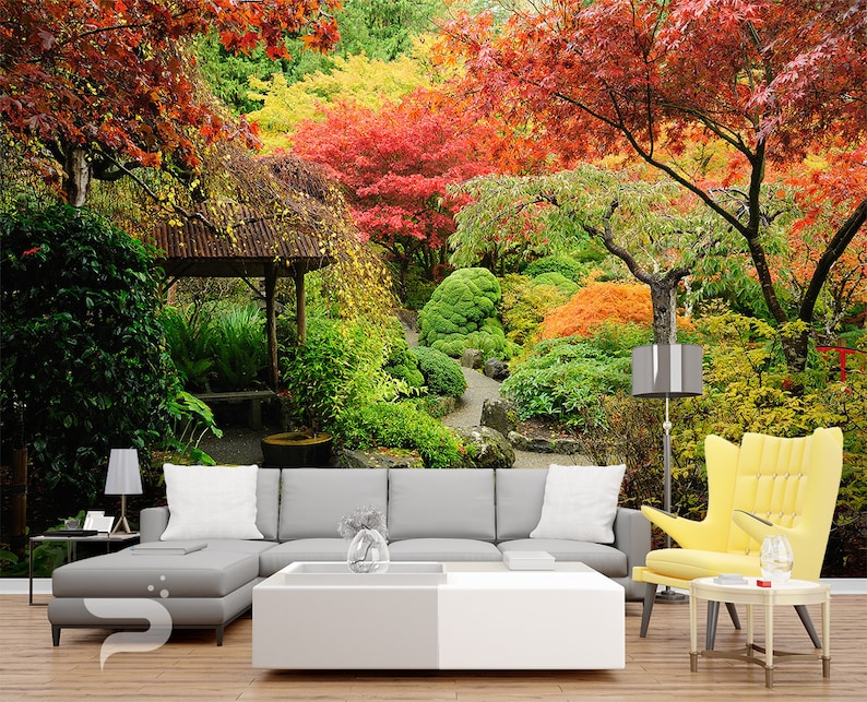 Colorful Garden Wall Mural Autumn Forest Wall Covering Japanese Wall Art Print Poster Removable Reusable Wall Decor Peel Stick Mural