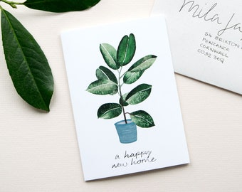 Happy New Home Card | Houseplant | Plant Lovers |  New House Housewarming | First House Card | Moving House | Leaving Card | New Homeowners