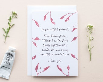 cute best friend birthday card card for friend friendship card hand illustrated cards hand lettered just because card card for her
