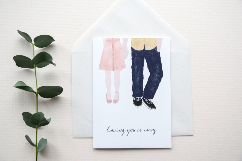 Valentine Card For Him I Love You Card Anniversary Card For Husband Boyfriend Card Couple Illustration Cute Valentine Card