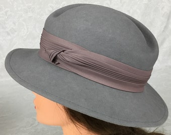 9ad7d15dd03 Vintage Womens 100% Wool Gray Bucket Hat Satin Ribbon Accent by Lancaster  H192