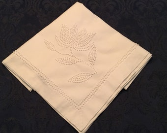Vintage White Linen Cotton Tablecloth Cover with French Knot Flowers 33 x 33 - TC57