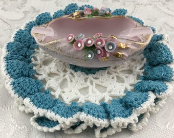 Vintage Lefton Porcelain Applied Flower and Rhinestone Ashtray #0454