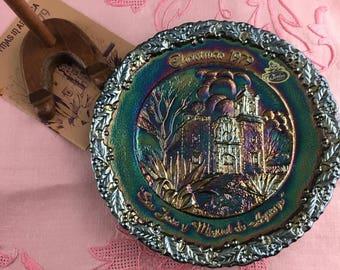 Vintage Fenton 1979 Blue Carnival Glass Christmas in America Plate San Jose y Miquel de Aguayo Mission