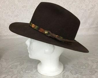 15fe2d889b605 Vintage Mens Hat Dorfman Pacific Brown Cowboy Western Hat Wool Felt  Colorful Trim H200