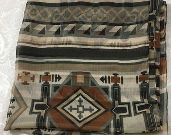 Vintage Big Buddha Womens Polyester Scarf Rust Gray Brown Print 68 x 21.5  S16