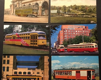 13 Vintage Postcards Lot - Trolley Streetcar Tramcar Transit