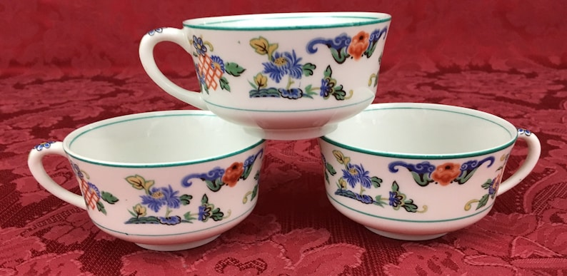 Set of 3 replacement Antique O P Co Onondaga Pottery Syracuse China 1919 Fusan Pattern Coffee Cups Teacups