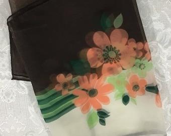 Vintage 100% Nylon Chiffon Womens Scarf Peach Brown Floral 44 x 13   S12