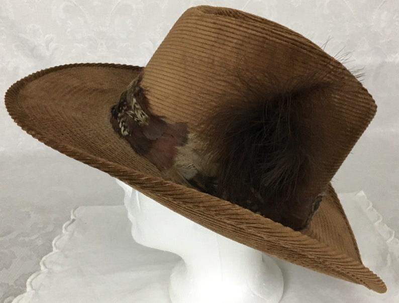 Vintage Mens Resistol Stagecoach Brown Corduroy Cowboy Hat  fd79cbaa09c