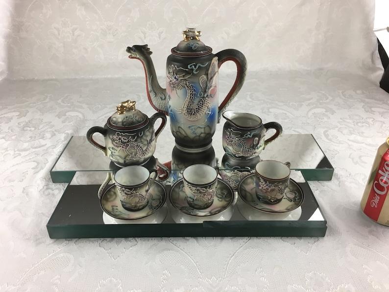 Vintage Japanese Moriage Dragonware Tea Set Teapot Sugar Creamer 3  Demitasse Cups 3 Saucers Satsuma