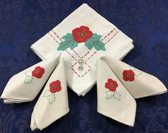 Vintage Hand Crafted Tablecloth 4 matching Napkins Appliqued Flowers T105