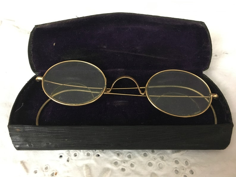 dd2c7c5de32c Antique Wire Frame Spectacles Eyeglasses Bifocals Gold Oval