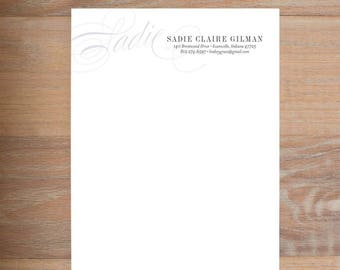 chic initial stationery set small modern classic etsy