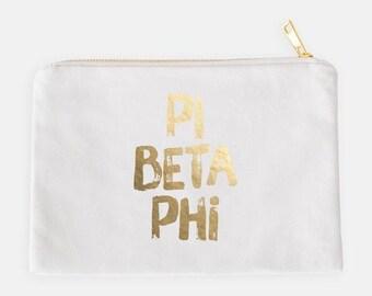 0b78a22a3b Gold Foil Greek Cosmetic Bag   Sorority   Alpha Chi Omega   Alpha Gamma  Delta   Tri Delta   Kappa   Phi Mu   Pi Beta Phi   Sigma Kappa