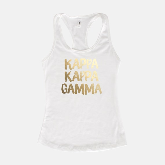 Kappa Kappa Gamma Blush Sorority Tank  Gray  Blush Lettering  Greek Tank Tops  Sorority  Bid Day Gift  KKG Tank