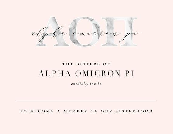 Alpha Omicron Pi Bid Card  Peony  Sorority Bid Card  Bid Cards  Greek Bid Cards  Sorority Recruitment Bid Card  AOII Bid Card