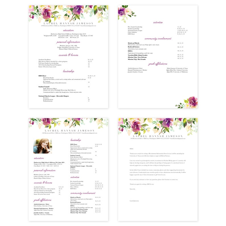 editable pages sorority resume template  pages for mac