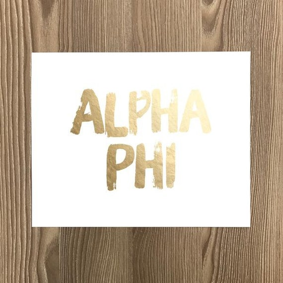 alpha phi gold foil greek art print sorority art prints etsy
