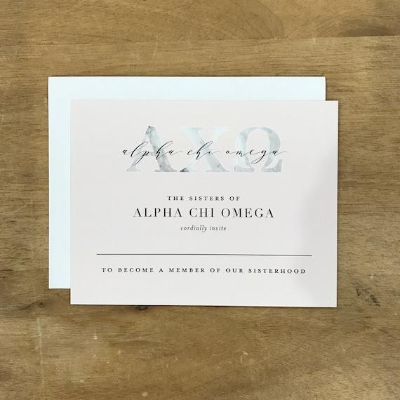Delta Delta Delta Bid Card  Graceful Bouquet  Sorority Bid Card  Bid Cards  Greek Bid Cards  Sorority Recruitment Bid Card