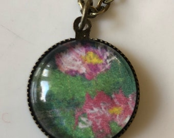 Water Lilies Cabochon Pendant Necklace miniature Print of Original Artwork Ready to Ship
