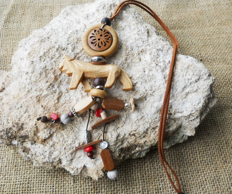 Boho Leather Long Necklace with Wooden beads Suede Cord Wood Pendant,Necklace with charms,Long Hippie leather necklace.FREE SHIPPING.