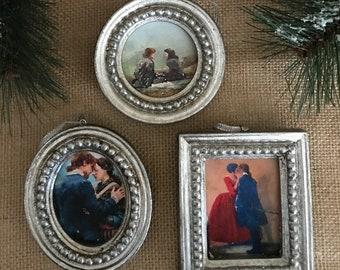 Outlander Ornament 2x3 silver beaded frame customize with Outlander Artwork